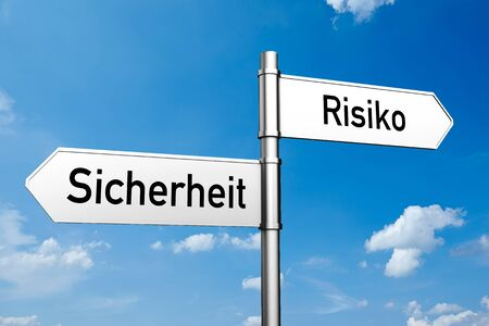 risiko: Decision between the German words Sicherheit (security) and Risiko (risk) (3D Rendering) Stock Photo