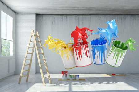 house coats: Renovation in an old loft with paint can color splashes (3D Rendering)