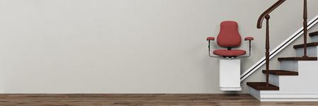 Panorama de stairlift sur les escaliers dans une maison pour les personnes âgées (rendu 3D)