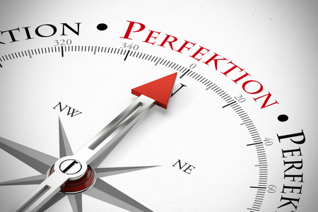 Red compass arrow pointing to the German word Perfektion (Perfection) (3D Rendering)