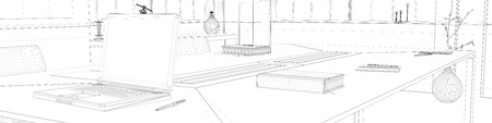 cad: CAD planning with wiremesh frame of office (3D Rendering)