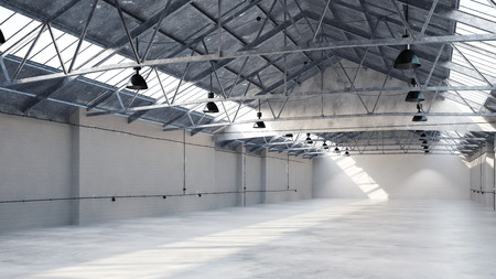 Interior of an empty big clean industrial warehouse (3D Rendering)