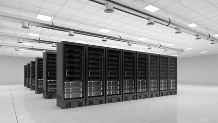 webhosting: bright modern data center with server computer for cloud computing (3D Rendering) Stock Photo
