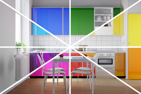 3d rainbow: Kitchenette in a colorful kitchen in rainbow colors (3D Rendering)