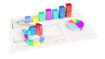 Colorful 3D graphs on paper with statistical analysis and charts (3D Rendering) Stock Photo