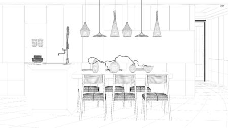 cad: CAD wireframe mesh of eat-in-kitchen dining table (3D Rendering)