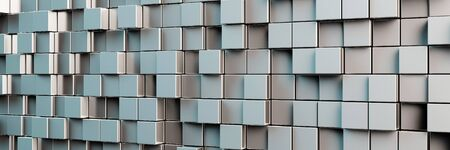 cuboid: Abstract panorama background with many grey cubes (3D Rendering) Stock Photo