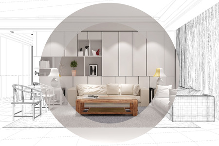 cad: Development and planing of living room with CAD wireframe mesh and color (3D Rendering) Stock Photo
