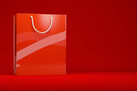 copyspace: Red shopping bag in front of red background with copyspace (3D Rendering) Stock Photo