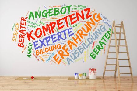 German tag cloud on wall with words like Angebot, Kompetenz, Erfahrung, Experte (offer, competence, experience, expert) (3D Rendering)  Stock Photo