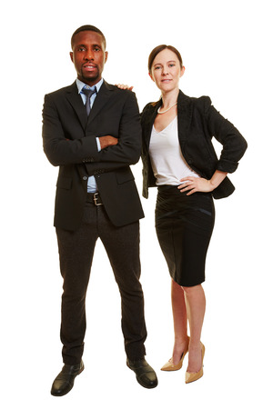 Business duo with man and woman as two businesspeople isolated on white background Stock Photo