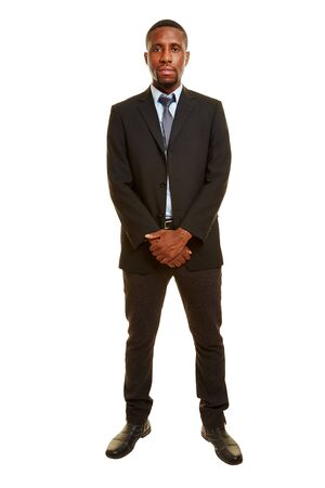 african business man: Front view of a serious african business man