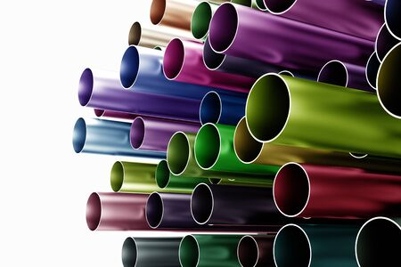 Colorful stack of many steel chrome tubes (3D Rendering) Stock Photo