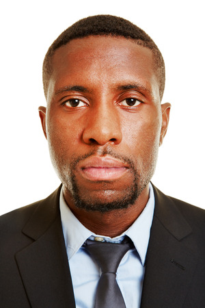 african business man: Frontal view of face of an african business man