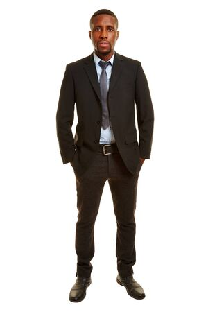 african business man: African man in a business suit isolated on a white background Stock Photo