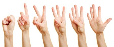 dedo meÑique: Dedos de una mujer a contar desde cero a cinco