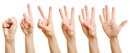 dedo meÑique: Fingers of a woman counting from zero to five