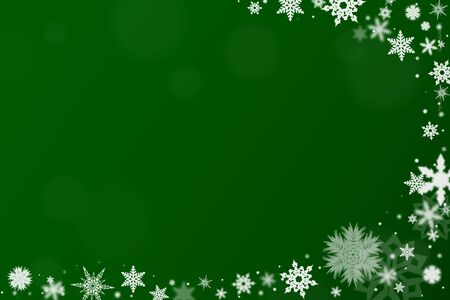 Background in green with snow for christmas