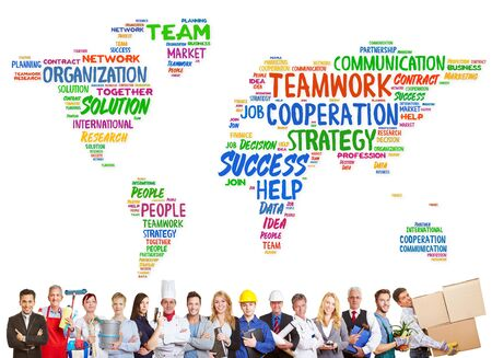 Diversity and teamwork concept with different professions in front of a worldmap photo