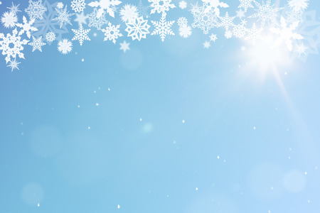 christmas motif: Christmas background with snow under a blue sky Stock Photo