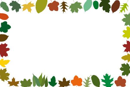 warm colors: Diferentes hojas de otoño como un marco en colores cálidos Foto de archivo
