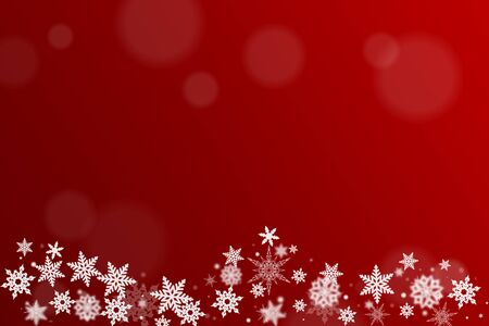 christmas motif: Background for christmas card in red with snow crystals Stock Photo