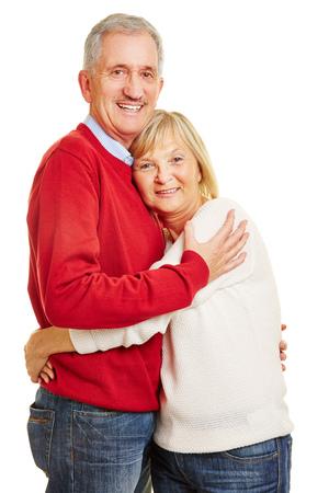 senior men: Happy senior couple in love embracing each other Stock Photo
