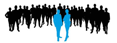 business team: Business team as Silhouette with team leaders in the front