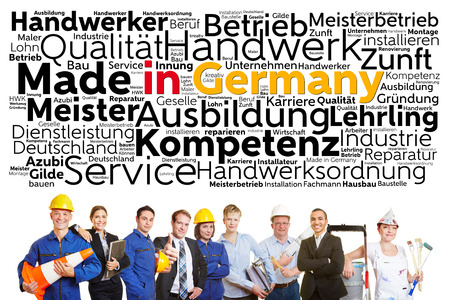 boiler suit: German workers from different professions with made in Germany tag cloud