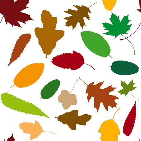 autumn colors: Seamless pattern background with many autumn leaves in different colorful colors