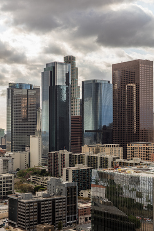 financial district: Skyscrapers in financial district of downtown Los Angeles, California
