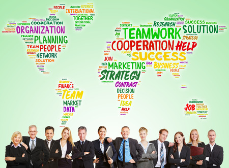 Business consulting team with world map as teamwork and success concept photo