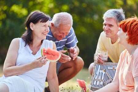 comiendo frutas: Senior citizens making a picnic in the park in summer eating fruit Foto de archivo