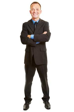 suit man: Isolated full body business man smiling with his arms crossed