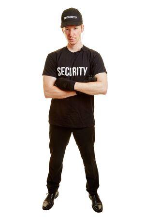 guardaespaldas: El hombre como un guardaespaldas o un guardia de seguridad con ropa de seguridad Foto de archivo