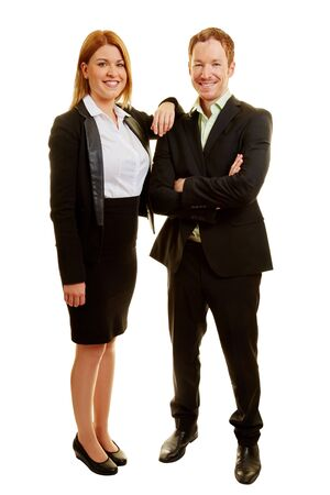 Two business consultants as a team smiling Stock Photo