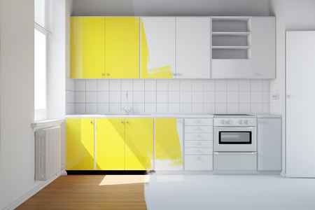 Renovation of a small kitchen from white to yellow (3D Rendering)