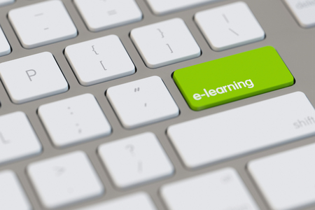 electronically: green key with e-learning as education concept on a computer keyboard (3D Rendering)