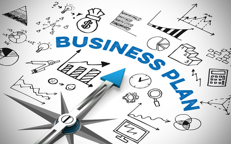 Business plan with compass and many financial icons and graphs (3D Rendering)
