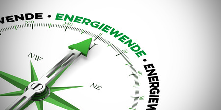 sustained: Arrow of a compass pointing to the German Word Energiewende (energy transition) (3D Rendering) Stock Photo