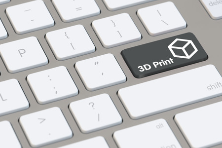 electronically: 3D Print concept on a key of a computer keyboard (3D Rendering) Stock Photo