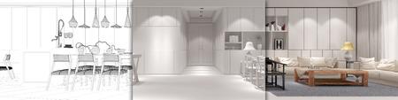 와 로프트의 CAD 계획 먹고 -에서 - 부엌과 거실 (3D 렌더링)
