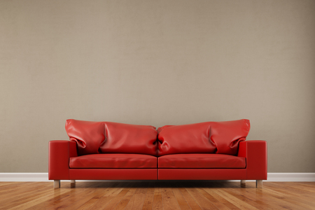 front room: Red sofa in front of an empty wall in a living room (3D Rendering) Stock Photo