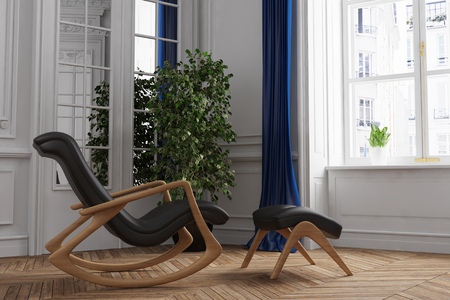 naturopath: Relaxation chair in living room on old building (3D Rendering)