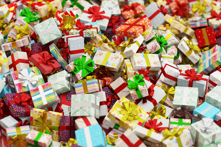abundance: Abundance of many different colorful gifts for christmas (3D Rendering)