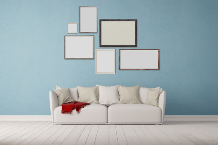 contemporary interior: Many different picture frames on wall over a sofa in a living room (3D Rendering)