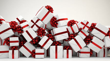 gift boxes: Heap of many christmas or birthday gift boxes (3D Rendering)