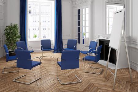 Business meeting met stoel cirkel in een elegante kamer (3D rendering)