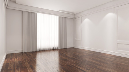 Oak hardwood parquet on the floor in an empty room (3D Rendering) Standard-Bild