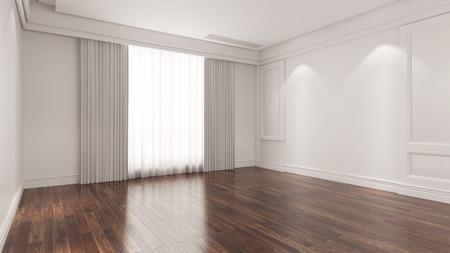 Eiken houten parket op de vloer in een lege ruimte (3D rendering) Stockfoto